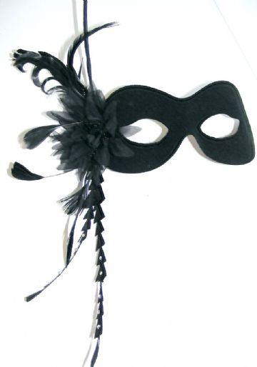 Black Swarovski Burlesque style feather mask